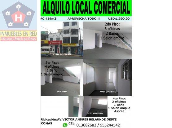 ALQUILER DE OFICINAS EDIFICIO DE 3 PISOS EN COMAS