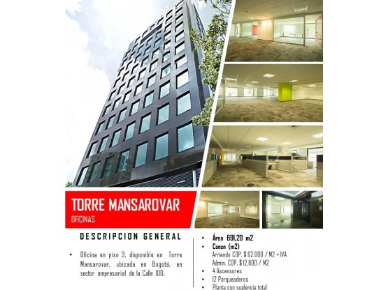 Venta oficina Torre Mansarovar Calle 100