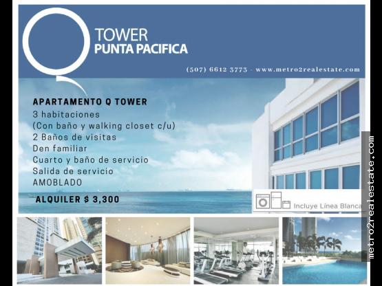 Q TOWER APTO EN ALQUILER . Punta Pacifica