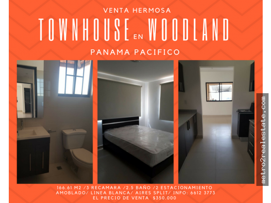 HERMOSO TOWNHOUSE EN WOODLAND. Panamá Pacifico