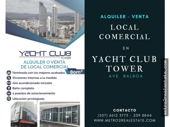 LOCAL YACHT CLUB TOWER. Alquiler-Venta