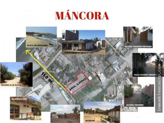 Terreno en Máncora 2,350 m² C/ 02 Bungalows