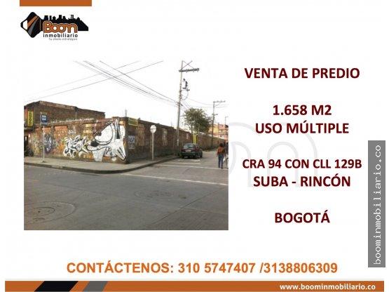 *VENTA 1.658 M2 PREDIO SUBA RINCON