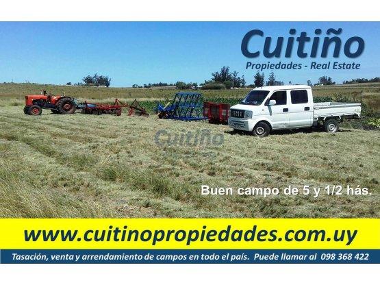 Campo 5 y 1/2 has. buena tierra y aguada natural