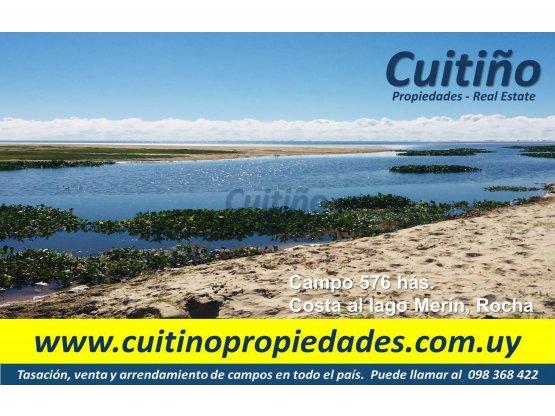 Campo 576 has. con costa lago Merin, Rocha
