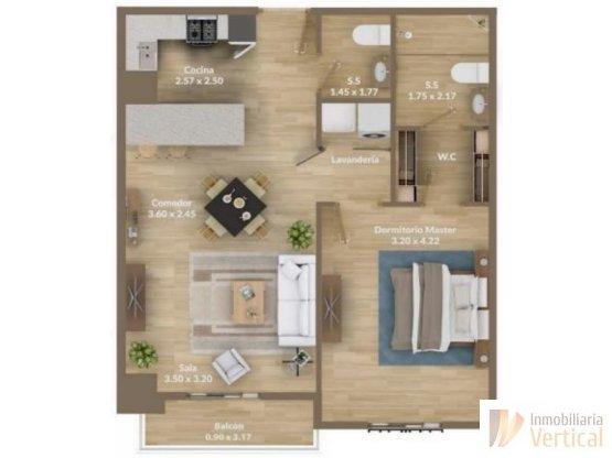 Apartamento en venta 1 habitación zona 15