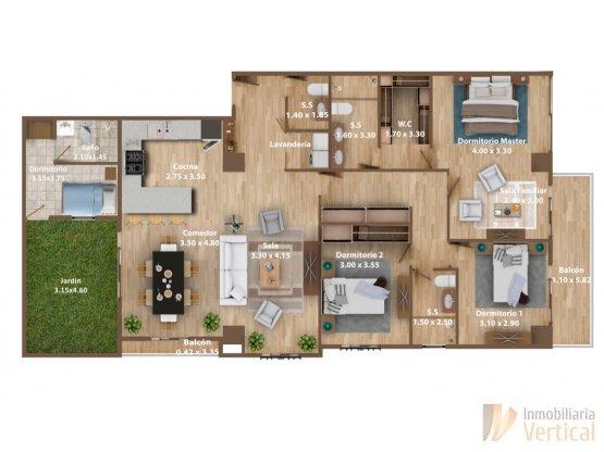 Penthouse de 3 habitaciones con jardín, zona 15