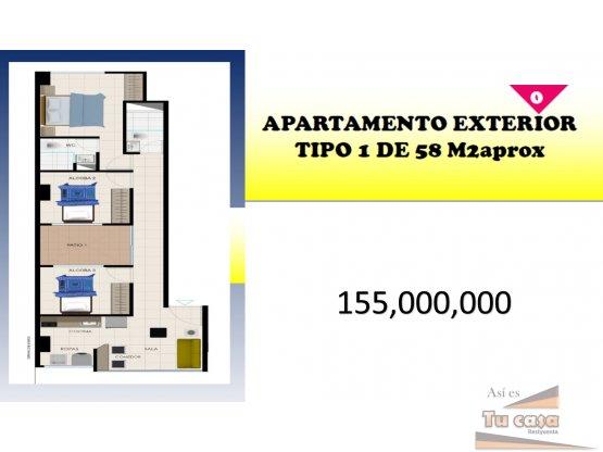 Apartamento tipo 1 con tres habitaciones,155.mill