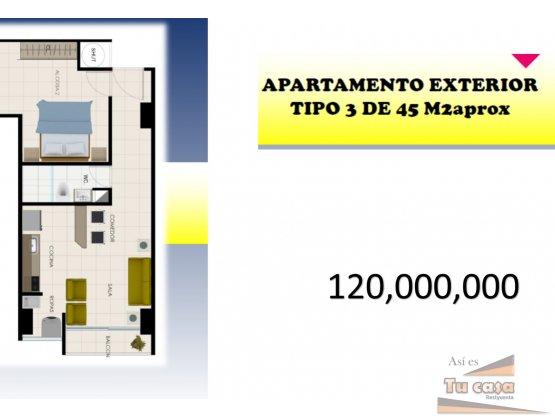 Apartamento tipo 3 con 1 habitaciones, 120 mill