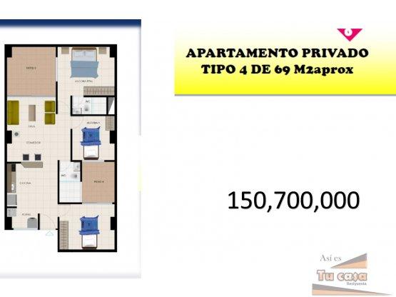 Apartamento tipo 4 con 3 habitaciones 158.700.000