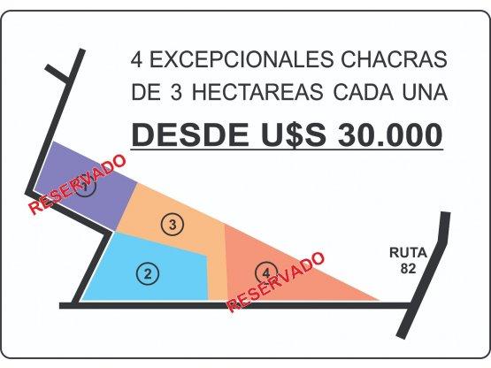 VENDE - CHACRAS DE 3 HECTÁREAS DESDE U$S 30.000
