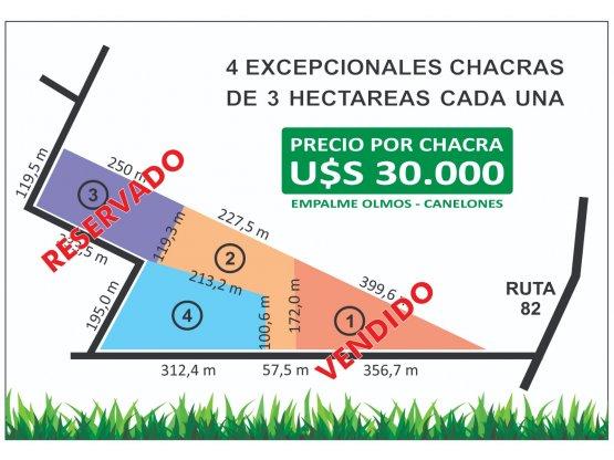 VENDE - CHACRAS DE 3 HECTÁREAS A U$S 30.000