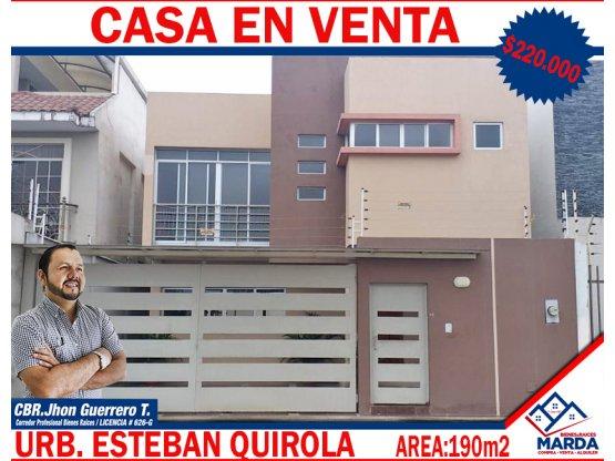 Casa en Venta  Ubr. Esteban Quirola Area 190m2