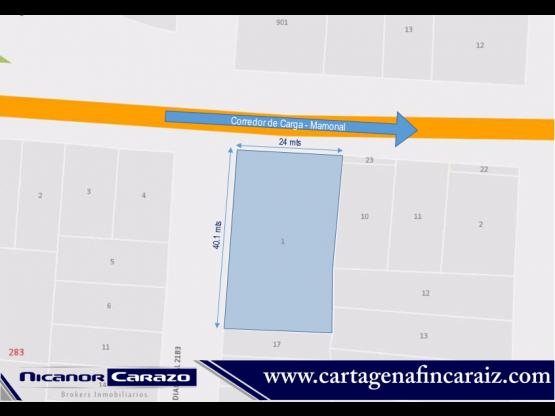 Vendemos lote comercial en el Bosque Cartagena