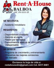 """Úniete a Nuestro Equipo"" Rent-A-House Balboa"